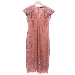 EXPRESS Blush Mauve Lace Cap Sleeve Midi Dress 4